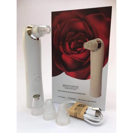 Vacuum Cleanser – Eggo Skin – Aparat pentru ingrijire faciala, pori, black mask, eliminare puncte negre, acnee, microdermabraziune – trei viteze, reincarcabil, alb