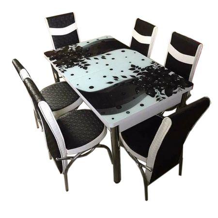 Set Masa extensibila 6 pers blat sticla securizata +6 scaune piele eco Elt Modella alb/negru model floral , 170 x 80 x 70 cm